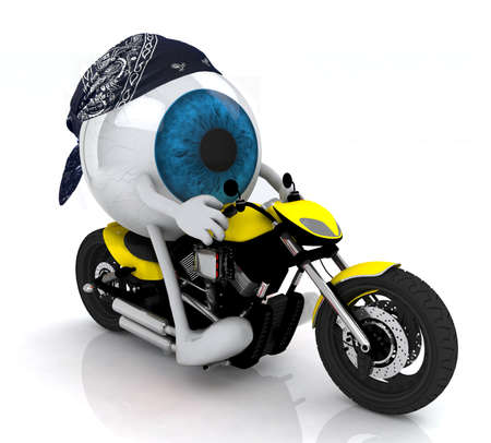 eye ball: big blue eye ball with arms, legs and bandana on the motorbike, 3d illustration