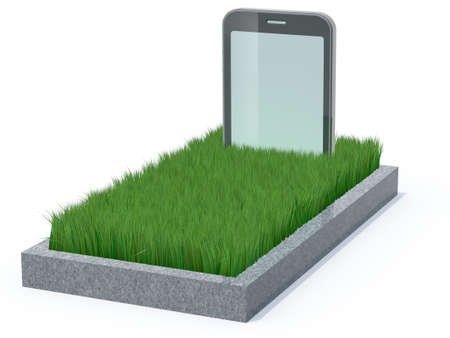 graves: smart phone as a gravestone, 3d illustration