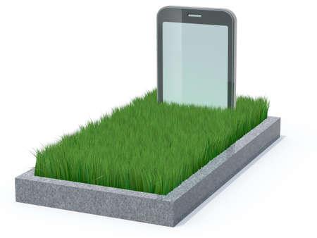smart phone as a gravestone, 3d illustration