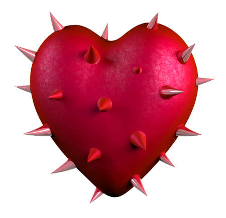 thorns: red heart covered by thorns, isolated 3d illustration