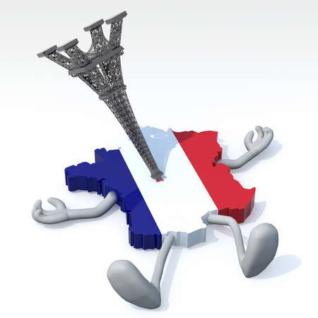 bombings: map of France with arms, legs and tower impaled, 3d illustration Stock Photo