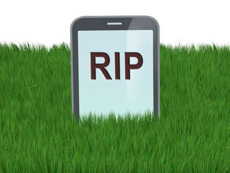 graves: smartphone like a gravestone, 3d illustration