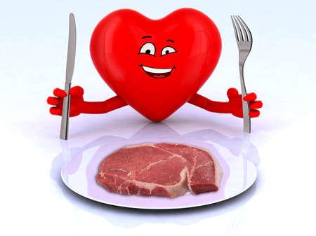 pareja comiendo: corazón rojo con las manos y los utensilios delante de un filete, ilustración 3d