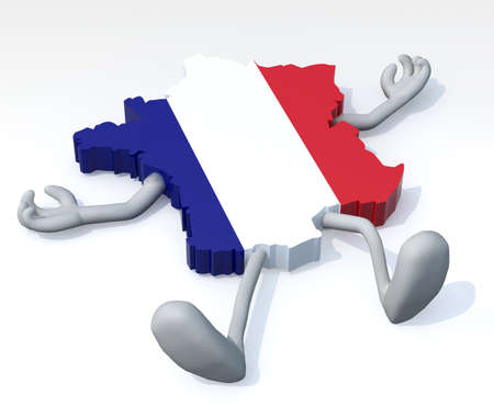 shootings: map of France with arms and legs lying down, 3d illustration