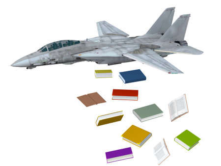 supersonic plane: warplane launching books instead of bombs, 3d illustration Stock Photo