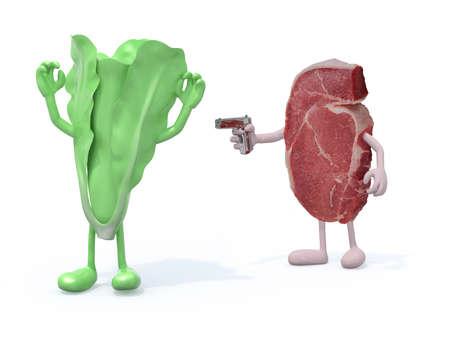 carnivore: meat vs vegetable, carnivore concept 3d illustration Stock Photo