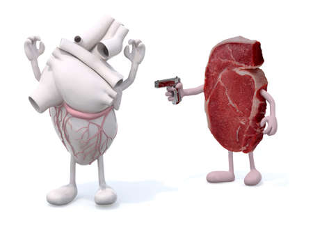 nutritive: steak with arms, legs and gun on hand vs heart, isoloated 3d illustration