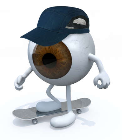 skate park: One-Eye with arms and legs skater, 3d illustration