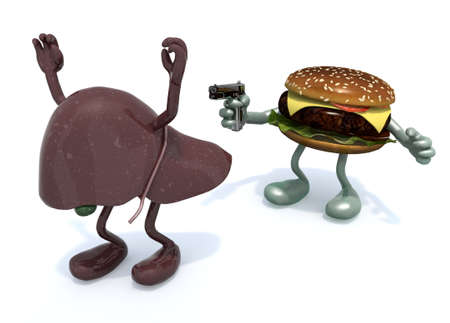 gallstones: hamburger with arms wielding gun to the human liver, 3d illustration