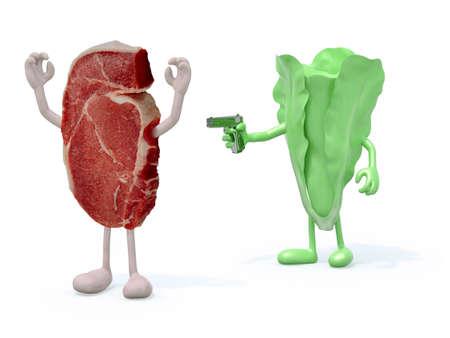 balanced: vegetable vs meat, vegan concept 3d illustration Stock Photo