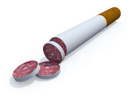 healt: cigarette sliced like salami, healt food concept, 3d illustrator
