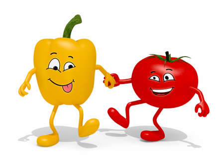 pepper and tomato cartoon hand in hand, 3d illustration Stok Fotoğraf