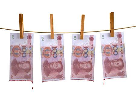 yuan: many china yuan banknotes hunging with blood, 3d illustration