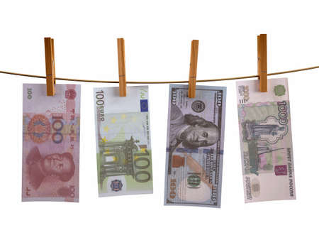 tumble: many banknotes hunging, isolated 3d illustration