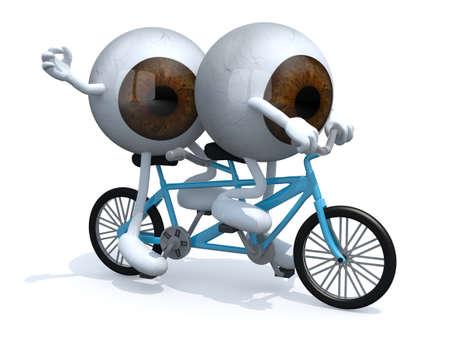 eyeballs: two brown eyeballs riding tandem, 3d illustration