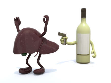 enzymes: white wine bottle with arms wielding gun to the human liver, 3d illustration