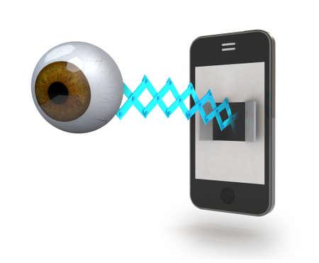 reloj cucu: marrón del ojo humano viene fuera de la pantalla de un teléfono inteligente, ilustración 3d