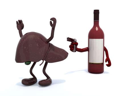 botella de vino tinto con los brazos armados con pistola en el hígado humano, ilustración 3d Foto de archivo