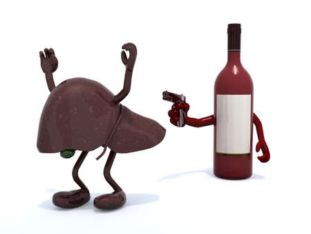 fatty liver: red wine bottle with arms wielding gun to the human liver, 3d illustration