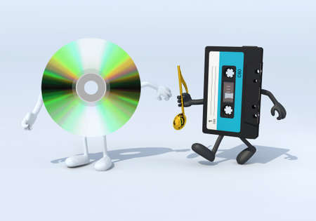 analogs: relay between old audio tape and cd audio, 3d illustration