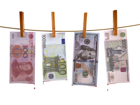 hung: many banknotes hunging with blood, 3d illustration Stock Photo
