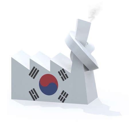 knotted: korean factory with chimney knotted, 3d illustration Stock Photo