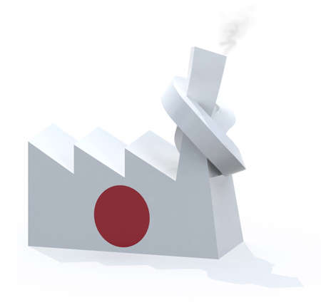 knotted: japanese factory with chimney knotted, 3d illustration Stock Photo