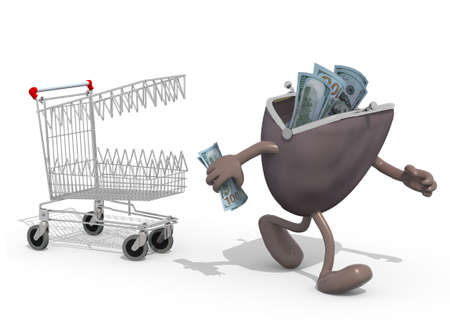 run away: shopping cart with teeth follow purse with arms and legs that run away