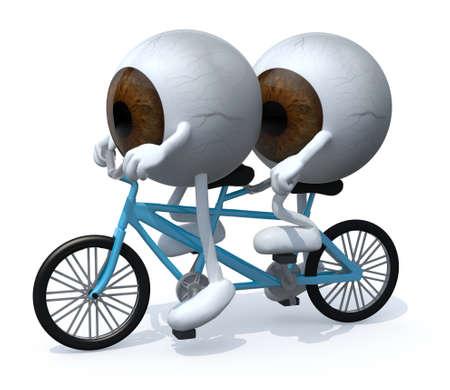 Tandem: two brown eyeballs riding tandem, 3d illustration