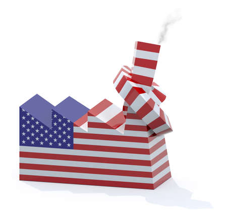 knotted: American factory with chimney knotted, 3d illustration