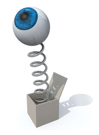 spring out: human blue eye comes out of a box with a spring, 3d illustration
