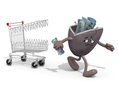 us paper currency: shopping cart with teeth follow purse with arms, legs and face that run away