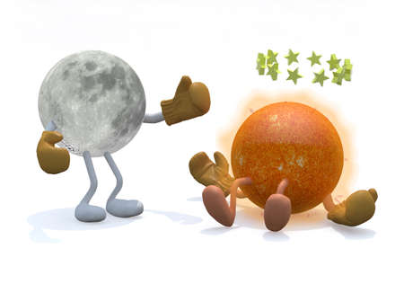 inverse: sun and moon with arms, legs and boxing gloves, 3d illustration