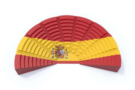 election commission: 3d concept spain parliament with flag color