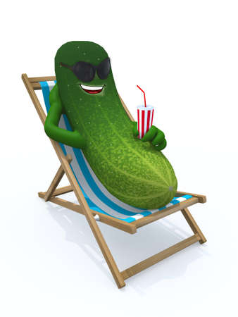 cucumber resting on a beach chair, 3d illustration Banco de Imagens