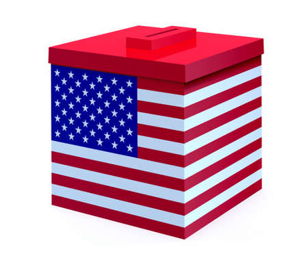 suffrage: ballot box with american flag, 3d illustration