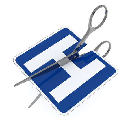 outpatient: hospital symbol cut by scissor, 3d illustration isolated on white