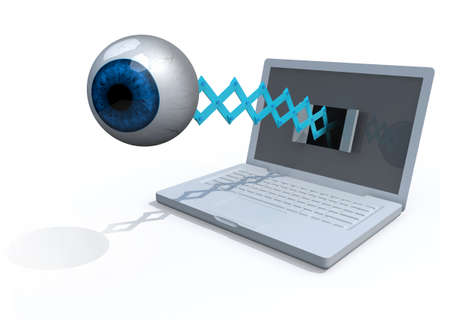 big brother spy: human blue eye comes off the screen of a laptop, 3d illustration