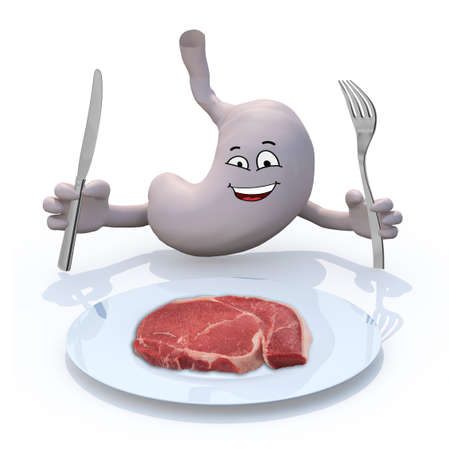 stomach ache: human stomac with arms and cutlery on hand in front on steak plate, 3d illustration
