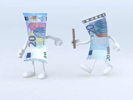 billets euros: relais entre les anciens et les nouveaux billets de 20 euros, illustration 3d Banque d'images