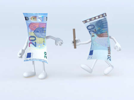 20 euro: relay between old and new 20 euro notes, 3d illustration Stock Photo