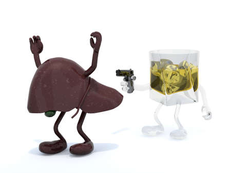 liver cirrhosis: whiskey bottle with arms wielding gun to the human liver, 3d illustration