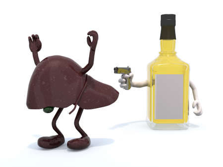 scotch whisky: whiskey bottle with arms wielding gun to the human liver, 3d illustration