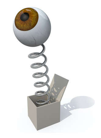 spring out: human brown eye comes out of a box with a spring, 3d illustration