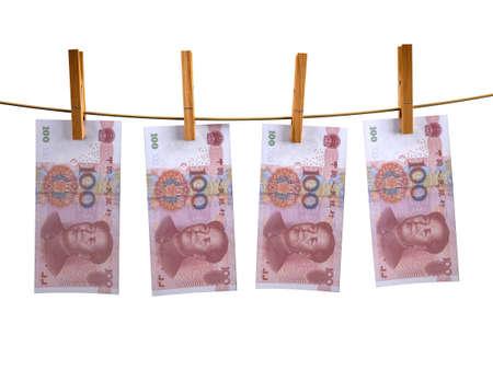 tumble down: many china yuan banknotes hunging, 3d illustration Stock Photo