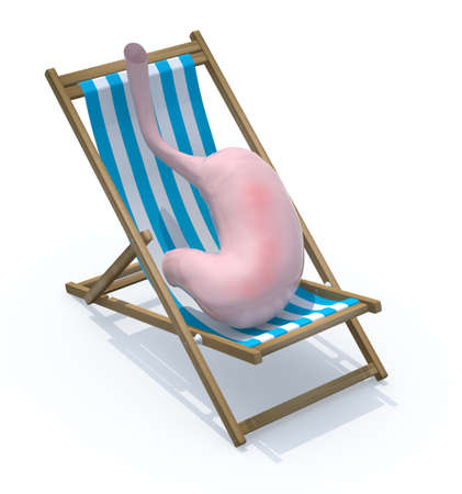 easing: stomach tired they rest on beach chair, 3d illustration