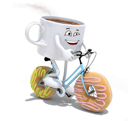 cartoon coffee cup riding bicycle with donuts instead wheels, 3d illustration