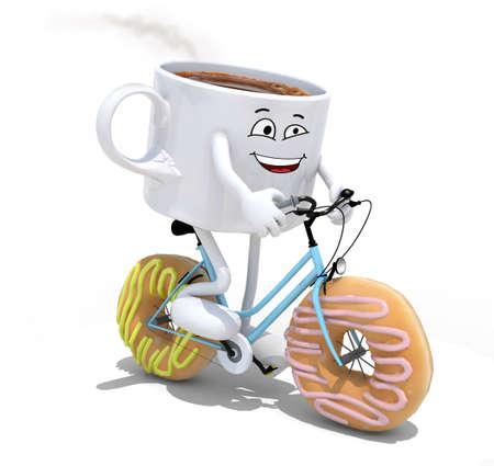 taza de café de la historieta que monta la bicicleta con ruedas en lugar rosquillas, ilustración 3d