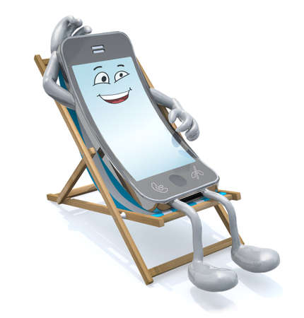 wifi: cartoon smartphone that rest in beach chair, 3d illustration Stock Photo