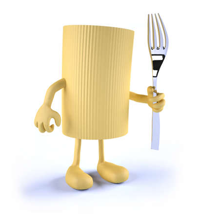 pasta fork: macaroni pasta with arms, legs and fork on hand, 3d illustration Stock Photo